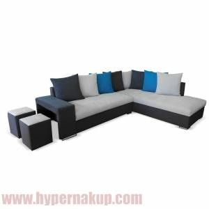 Rohová sedacia súprava s taburetmi, tmavosivá/svetlosivá/modrá, pravá, JEMEN