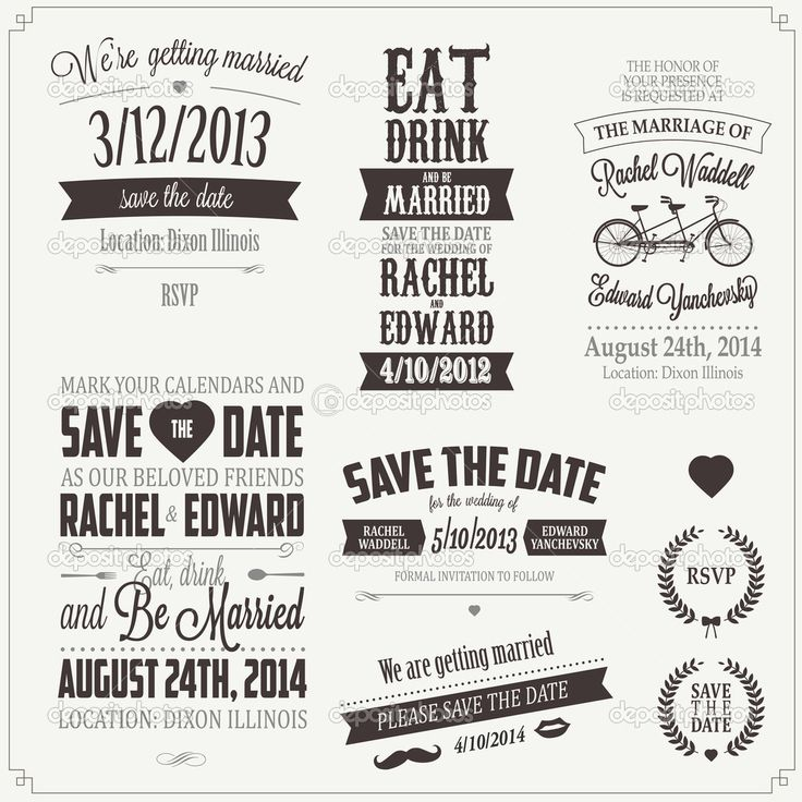 41 best invitation design images on pinterest invitations cards set of wedding invitation vintage typographic design elements royalty free stock vector art illustration stopboris Choice Image