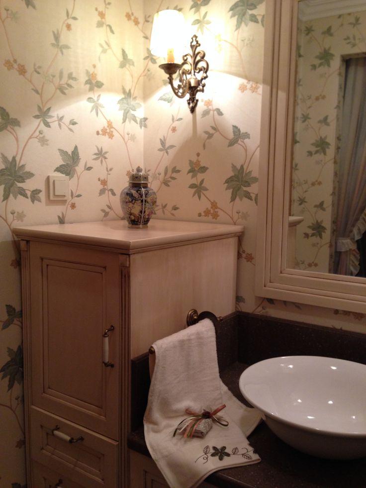 #oztekmimarlik, daire tadilatı, banyo yenileme, duvar kağıdı- bathroom remodel, floral wallpaper, istanbul
