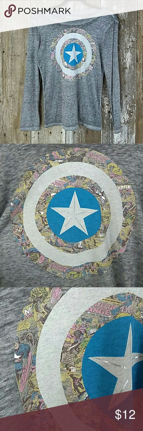 XL Marvel spring colors Junior's size extra large lightweight grey Heather almost burnout style fabric with pastel Marvel Captain America logo with a little hint of reflective silver pit to pit measurements 17 and a half inches shoulder to hem 24 inches Marvel Tops Tees - Long Sleeve