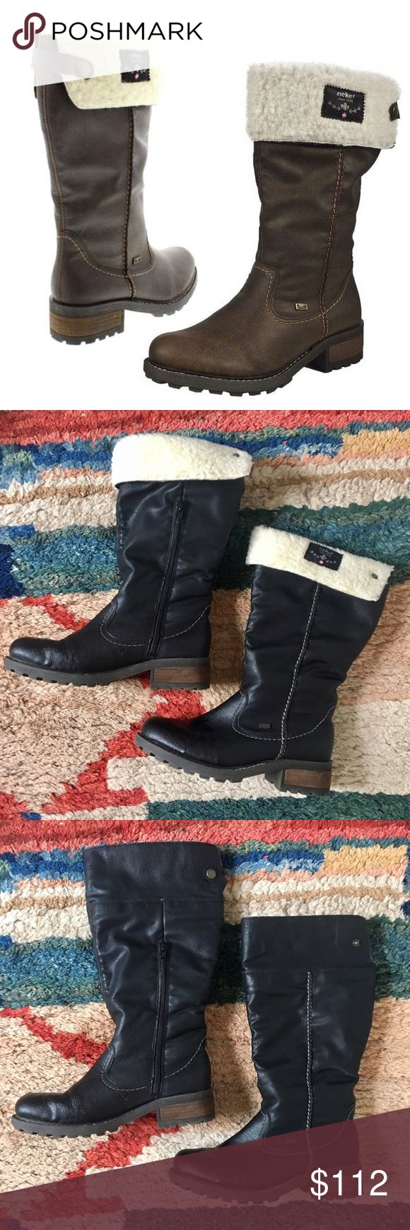 Rieker Leather Boots Ladies winter boots by Rieker - waterproof, black leather, lambswool lining that can flip up or down. Very comfortable and durable - only worn once !! FITS LIKE A US 8 Rieker Shoes Winter & Rain Boots