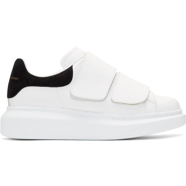outlet online huge sale premium selection Alexander McQueen White Oversized Strap Sneakers ($465) ❤ liked ...