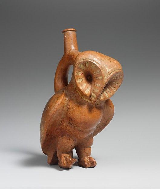 Ceramic owl spout bottle   Peru, Moche culture (Loma Negra), 2nd - 3rd century AD. It is 24cm high and 11.7cm wide ( 9 1/2 x 4 5/8 inch.)   Source: metropolitan Museum