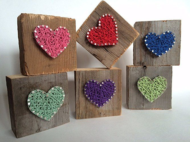 Rustic wood aqua string art heart block - A unique gift for a new Baby Boys, Weddings, Anniversaries, Birthdays, Valentine's Day, Christmas, house warming and just because gifts.: Handmade