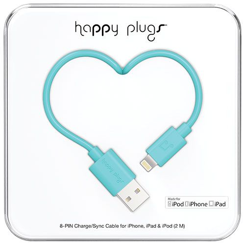 Happy Plugs 2m (6.5 ft.) Lightning/USB Cable - Turquoise