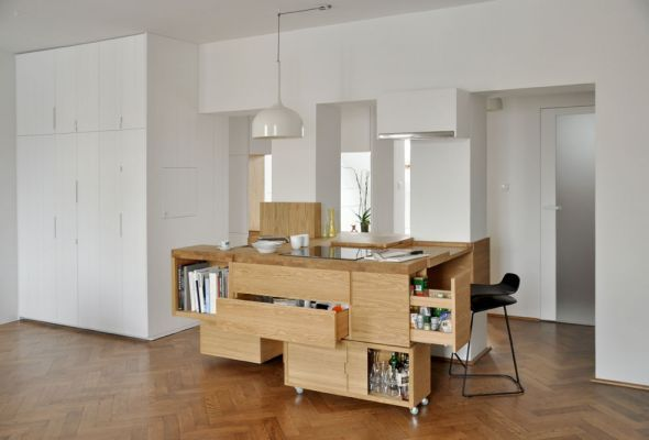 the non-kitchen and the transparent work station wall - http://centrala.net.pl/our-work/attic