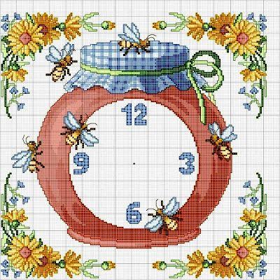 Punto croce - Schemi e Ricami gratuiti: Orologio con le api- schema all'uncinetto gratuito