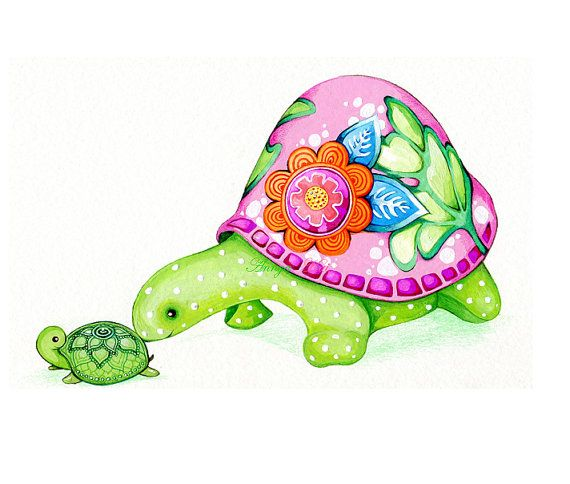 Mom and Baby Turtle  Pink Green White Modern di AnnyaKaiArt, $18.00