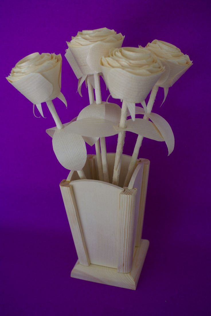 beautiful lines for5th wedding anniversary%0A   Natural wood roses on for  th Anniversary gift with wooden vase  wooden u