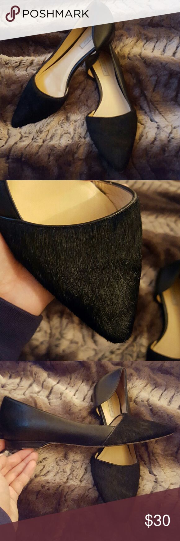 SALE ??Cole Haan LADY flats Condition 7/10, size 6B , Cole Haan, real fur and leather , if you have any questions just let me know. Thanks Cole Haan Shoes Flats & Loafers
