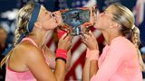 Andrea Hlavackova, right, and Lucie Hradecka of the Czech Republic after winning the women's doubles title. USA today sports