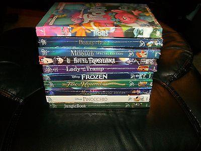 DISNEY 10 DVD LOT- ALADDIN,PINOCCHIO,JUNGLE BOOK,FROZEN,HOTEL TRANSYLVANIA& MORE
