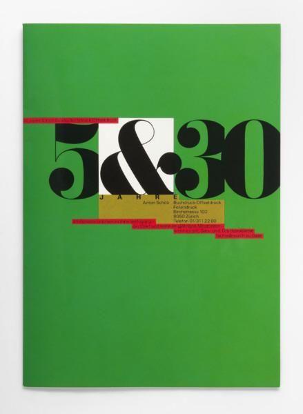 Werbemappe für Druckerei    5&30 (Originaltitel)  35 Jahre Anton Schöb Buchdruck-Offsetdruck (Untertitel)  1982, Rosmarie Tissi