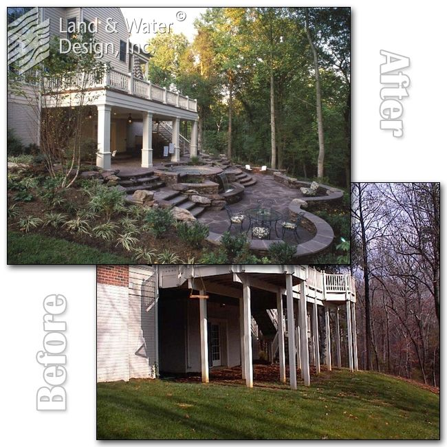 before & after ~ landscaping ~ adding a water feature and entertaining space into a sloping backyard area ~ landandwaterdesign.com