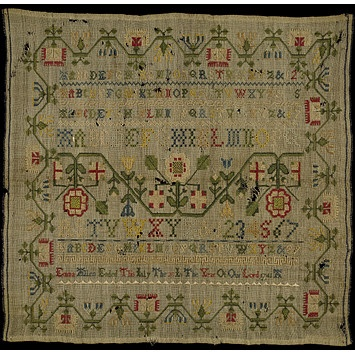 embroidered 1741, English Sampler