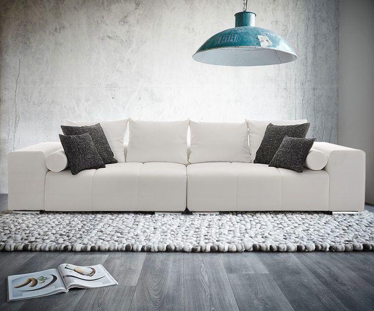 DELIFE Big-Sofa Marbeya Weiss 285x115 mit 10 Kissen Schwarz Weiss, Big Sofas 1528