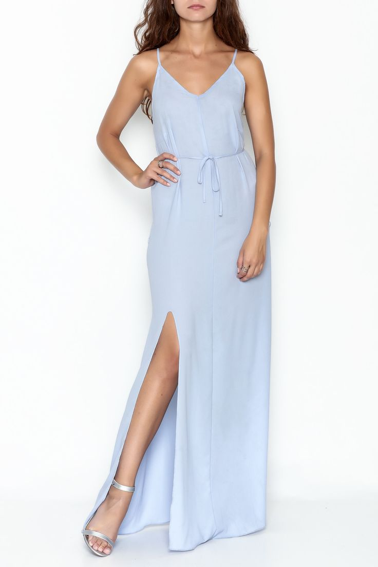 Light blue maxi dress featuring a low back cut. Pair with some sandals for a flirty day time look!   Low Back Strappy Maxi by Pinkyotto. Clothing - Dresses - Maxi Boston, Massachusetts Manhattan, New York City Nolita, Manhattan, New York City