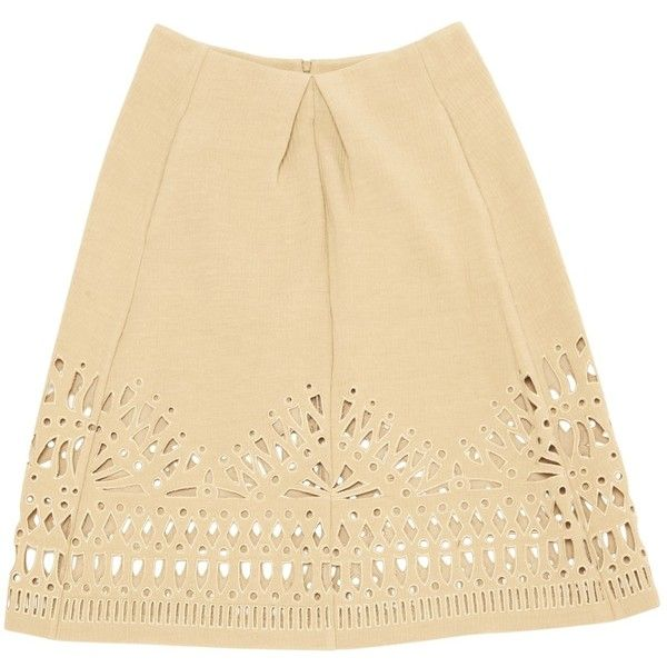 Pre-owned Sea New York Mid-Length Skirt ($60) ❤ liked on Polyvore featuring skirts, beige, beige maxi skirt, beige skirt, long beige skirt, mid length skirts and sea, new york