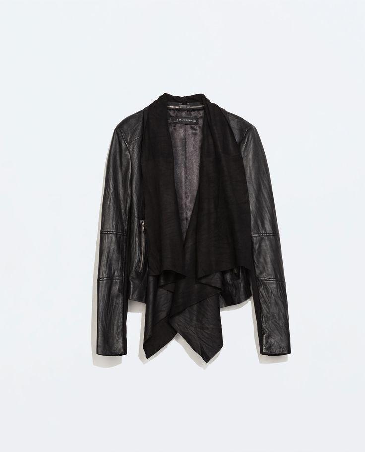Image 6 of LEATHER JACKET WITH POINTED HEM from Zara medium