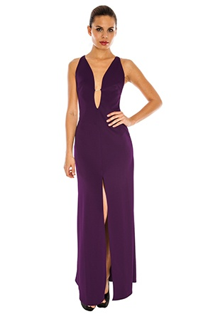 Rihanna style purple dress