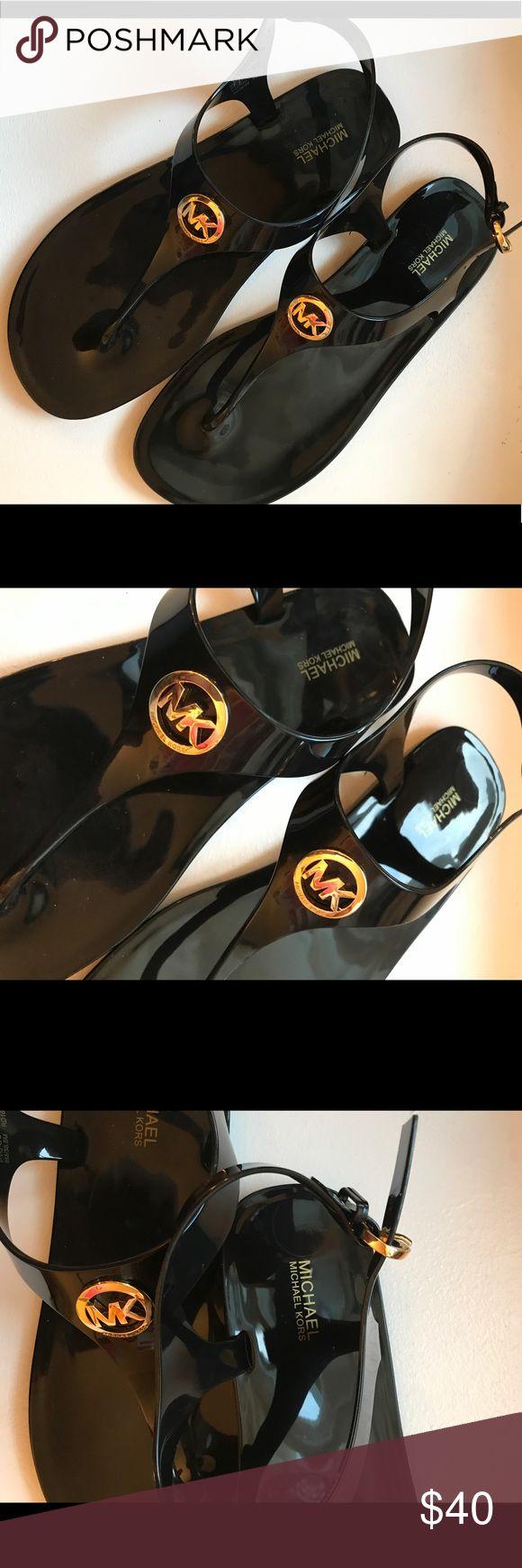 Michael Kors Logo Black Jelly T Strap Flats NEW Michael Kors Logo Black Jelly T Strap Flats NEW no box. MK Sondra Sandal. Michael Kors Shoes Sandals