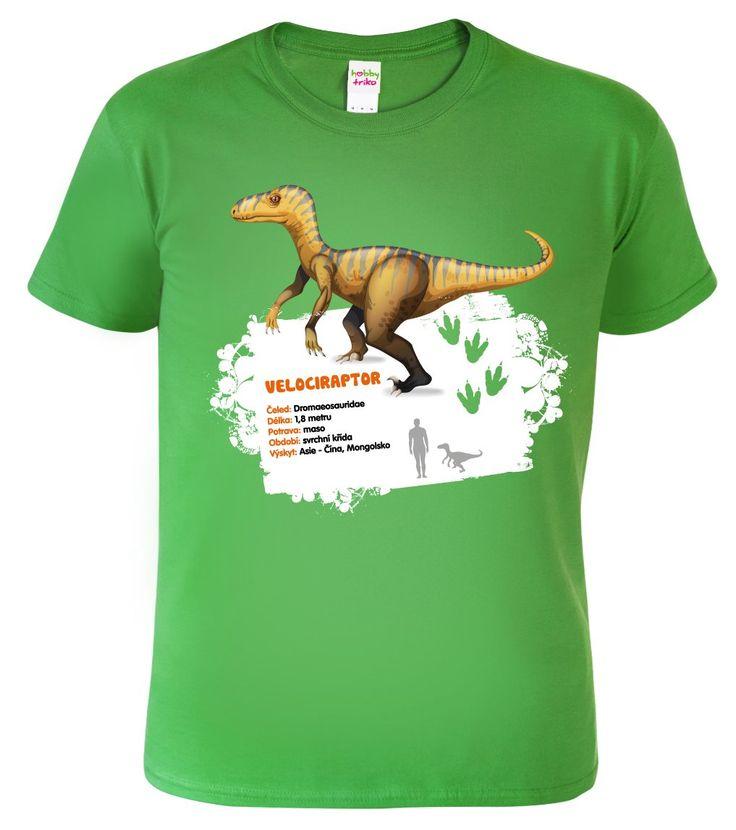 Velociraptor - poměrně malý masožravý dinosaurus, který žil na území Asie. Lovil ve smečkách, kořist zabíjel srpovitým drápem na předních končetinách. Toto originální edukativní tričko s dinosaurem a měřítkem kde je znázorněna velikost vůči lidské postavě, zakoupíte jen u nás.