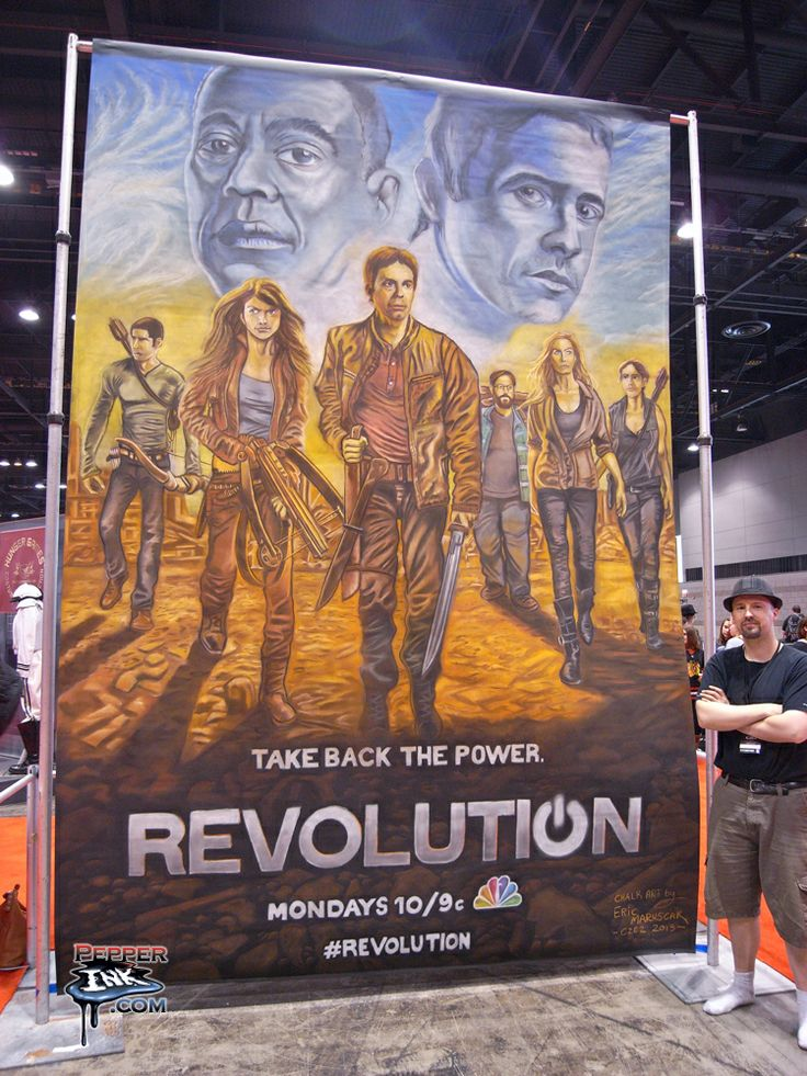 """http://www.pepperink.com - Chalk art for the NBC show """"Revolution"""". Made at C2E2 2013."""