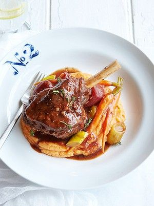 Lamb shanks with sweet potato cinnamon mash - a healthy alternative this winter.