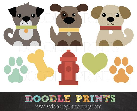 Dog Clip Art Printable - Dogs Clipart Design - Puppy Love Design - Pets, Puppy…