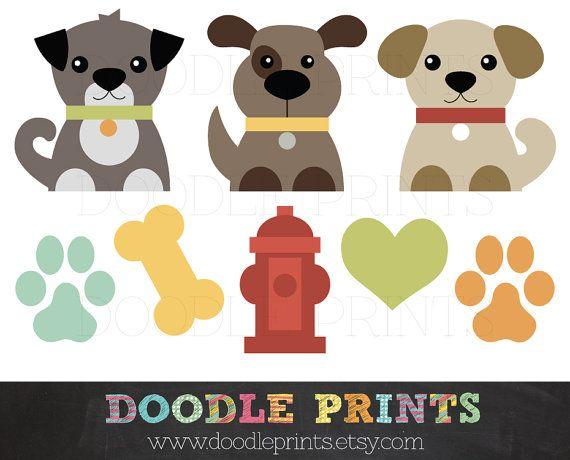 Hond illustraties afdrukbare honden Clipart door doodleprints