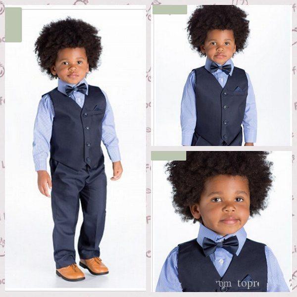 Boy's Formal Wear Boys Tuxedo Suits Wedding Flower Girl Dress Little Boy Party Business Boys Suits (Pants+Vest+Bow Tie)