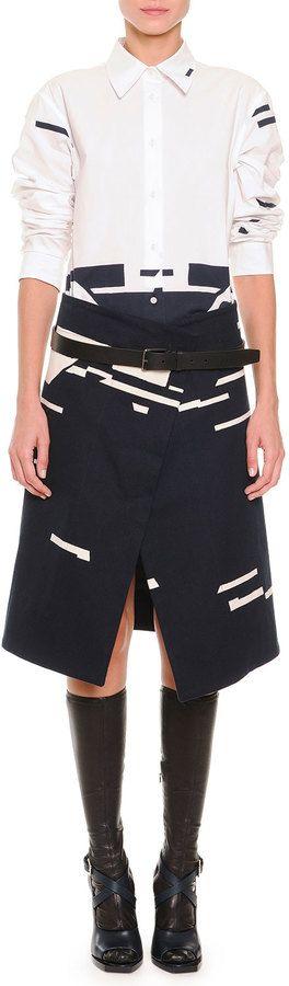 Jil Sander Broken Stripe-Print Button Blouse, Broken Stripe-Print Asymmetric Skirt & Clean Line Leather Belt #unique #black #white #stripes #asymmetric #outfit #glam