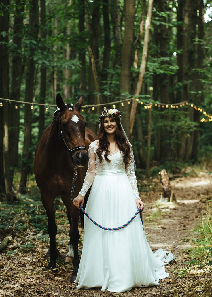 Emily's horse Zac made a guest appearance - a Magical and Romantic Woodland Wedding. Photographer - LYNDSEY GODDARD