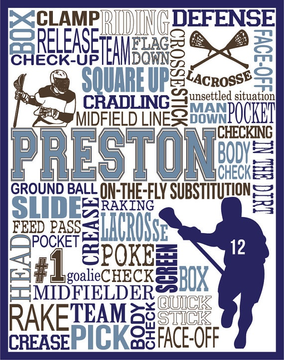 Lacrosse Print   Personalized Lacrosse Typography by PrintChicks, $35.00