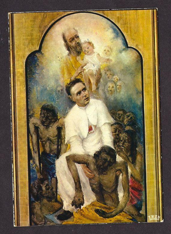 Vintage St Father Damien of Molokai the leopard  by Divinegiftshop