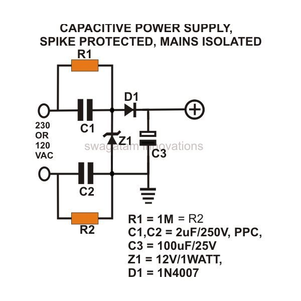transformerless power supply, ac mains isolated, spike protected, Circuit diagram