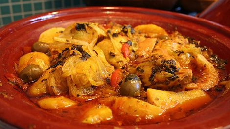 Chicken tajine with preserved lemon and olives recipe