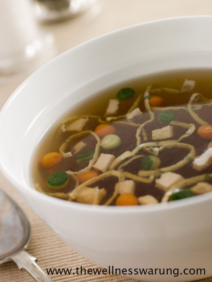 A vegetable broth #soup is easy to make and can be extremely satisfying- it is #vegetarian and #vegan comfort food at its best. Add in chopped vegetables, tofu or beans for protein and even whole wheat noodles for a complete meal.