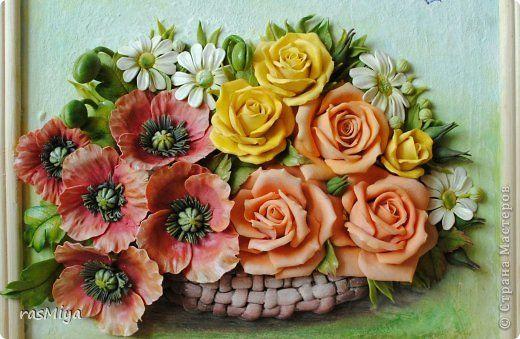 Картина панно рисунок Лепка Заблудились в поле розы  Краска Тесто соленое фото 1