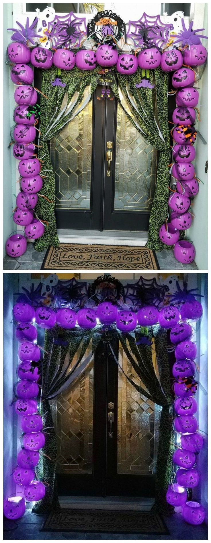 Plastic pumpkin entry way for Halloween...such an awesome lighted decoration!