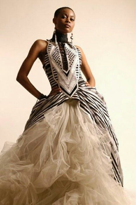 African print inspired wedding dress