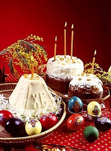 Get ready for Russian Orthodox Easter!  Holiday Kulich - sweet bread to resemble the golden domes of orthodox churches.   Holiday Paska with the words XB - meaning christ has risen.  Easter Eggs - colorful loveliness :)
