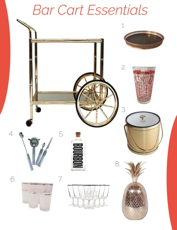 Eight bar cart essentials found on Chairish. These vintage accessories and barware will look great in any home on any bar cart.