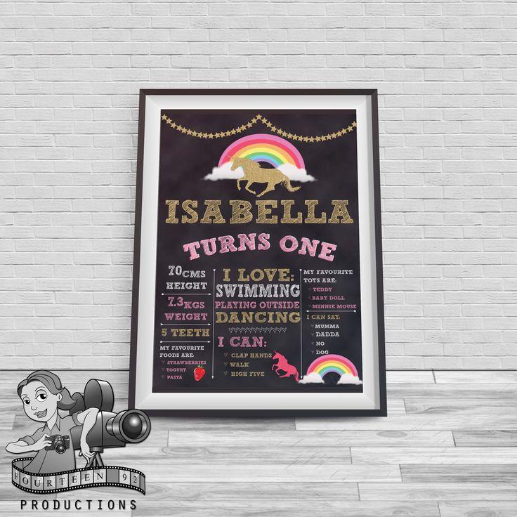 Unicorn Chalkboard Milestone Poster by fourteen92prod on Etsy https://www.etsy.com/au/listing/511021501/unicorn-chalkboard-milestone-poster