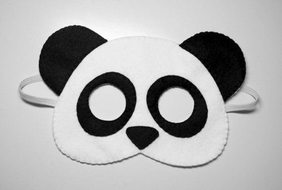 aea58106f87 Panda bear felt mask - white black handmade woodland animal for kids adults  - soft dress up play acc