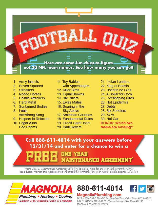 Take Our Football Quiz For A Chance To Win A Free Maintenance