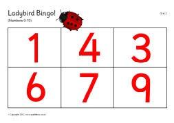 Ladybird spots bingo - numbers 0-10 (SB191) - SparkleBox