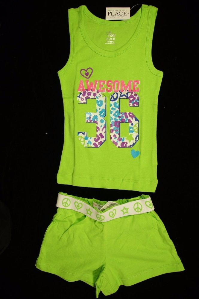 The children's place Awesome 36 tank top and shorts lime green Size XS 4 NWT #TheChildrensPlace