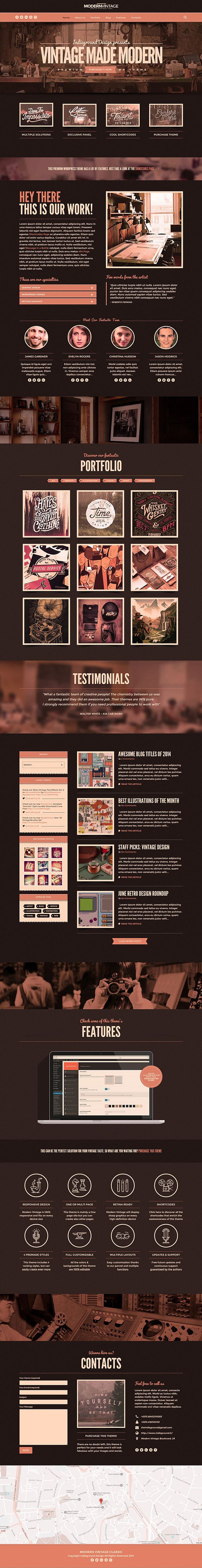 pinterest.com/fra411 #webdesign - Modern Vintage Wordpress Theme on Behance