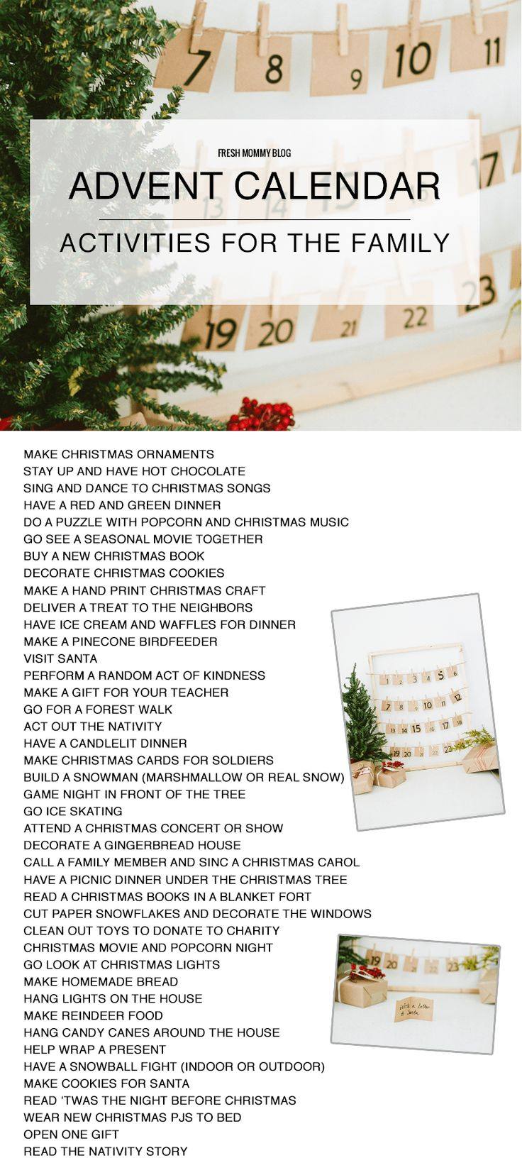 Advent Calendar DIY for Christmas + 40 Activities for the